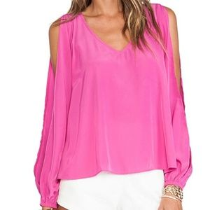 Lovers + Friends Daydream Slit Sleeve Hi Lo Top XS